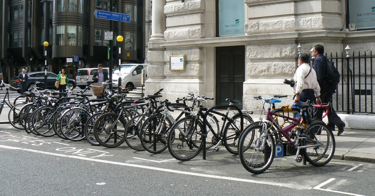Cycle parking on carriageway