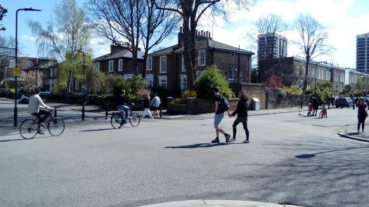Safe social distancing – traffic mode filters uing bollards allow people to move freely.   De Beauvoir Town, Hackney