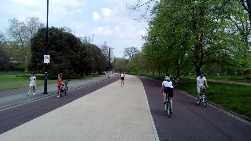 Running, walking and cycling on roads closed to traffic in Hyde Park (Saturday 11th April)
