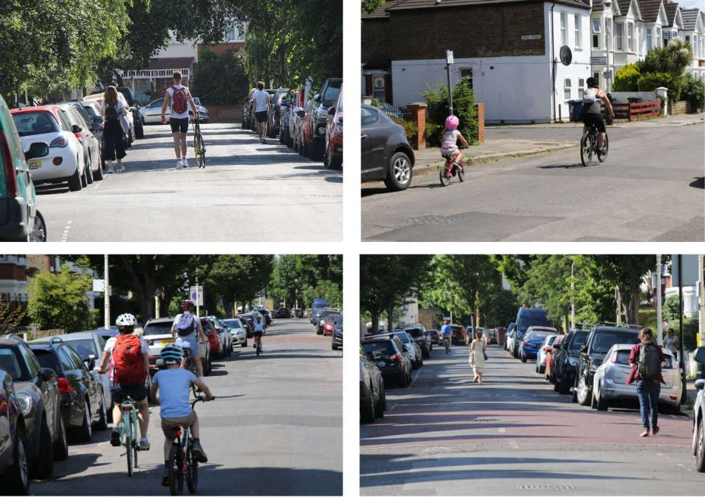 People walking and cycling freely down the middle of their local streets to maintain social distance during the Covid pandemic