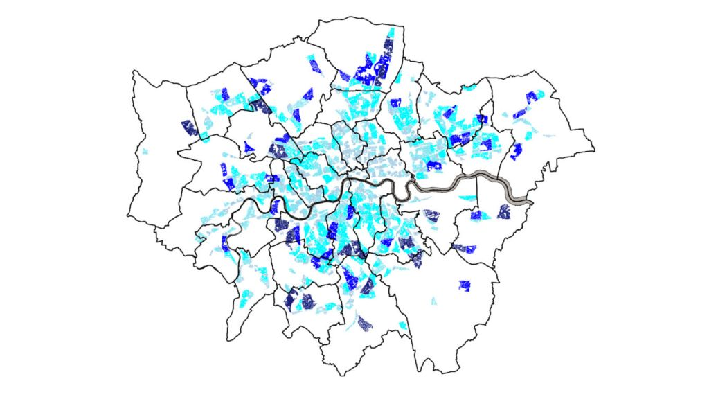 Map from TfL Streetspace document showing areas where low traffic neighbourhoods should be a priority