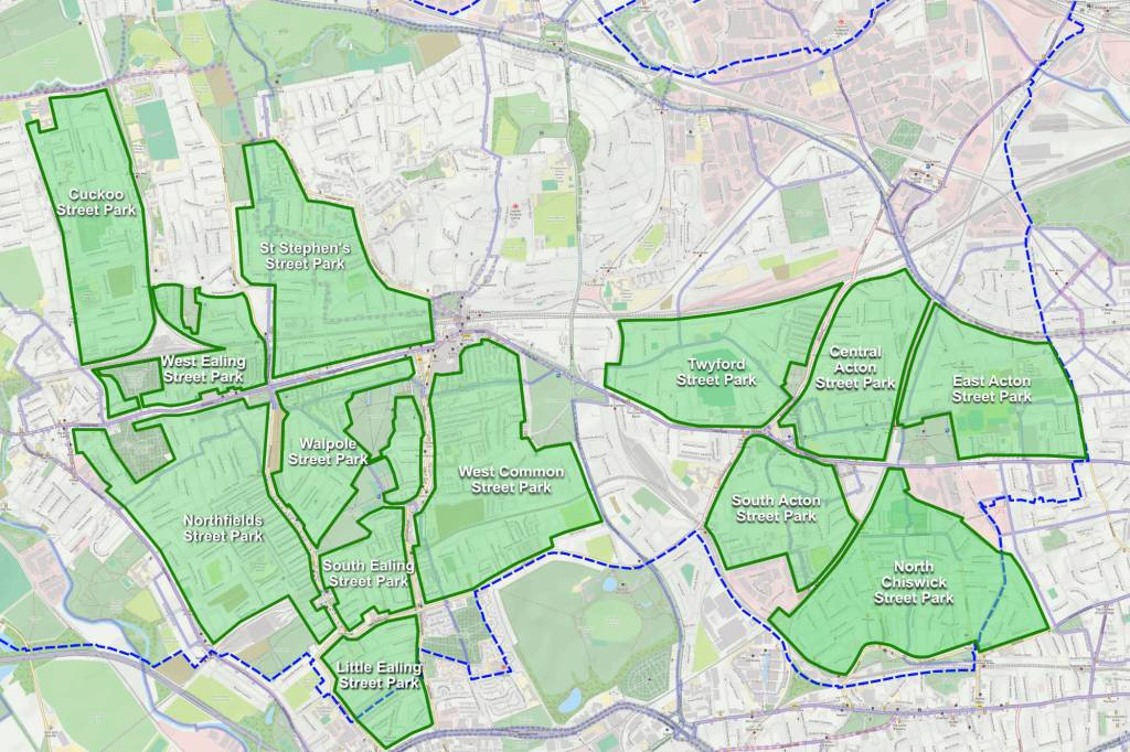 Map showing how south-west Ealing could easily be divided into a number of Street Park areas